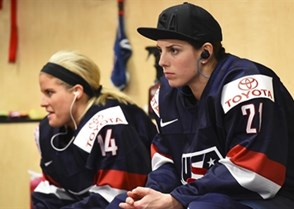 PLYMOUTH, MICHIGAN - APRIL 1: USA's Hilary Knight #21 looks on in the dressing room prior to preliminary round action against Russia at the 2017 IIHF Ice Hockey Women's World Championship. (Photo by Matt Zambonin/HHOF-IIHF Images)