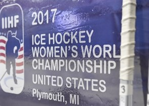 PLYMOUTH, MICHIGAN - APRIL 3: Back up sticks rest on the glass behind the bench during preliminary round action at the 2017 IIHF Ice Hockey Women's World Championship. (Photo by Minas Panagiotakis/HHOF-IIHF Images)