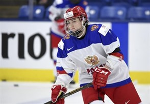 PLYMOUTH, MICHIGAN - APRIL 3: Russia's Elina Mitrofanova #7 along with teammates and staff members wearing black armbands for their preliminary round game against Canada at the 2017 IIHF Ice Hockey Women's World Championship following a metro explosion earlier in the day in St. Petersburg. (Photo by Matt Zambonin/HHOF-IIHF Images)
