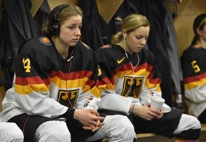 PLYMOUTH, MICHIGAN - APRIL 6: Germany's Carina Strobel #14 listens to music in her teams dressing room prior to bronze medal game action against team Finland at the 2017 IIHF Ice Hockey Women's World Championship. (Photo by Minas Panagiotakis/HHOF-IIHF Images)